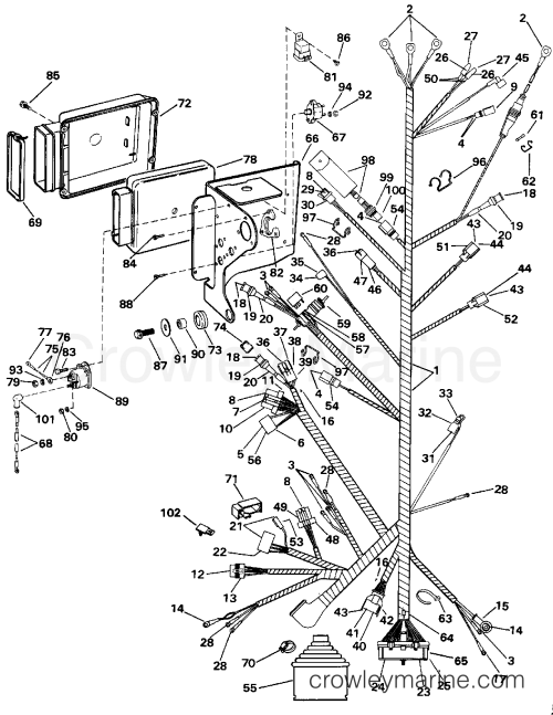 small resolution of 1993 omc stern drive 5 50fapljvn engine wire harness bracket section