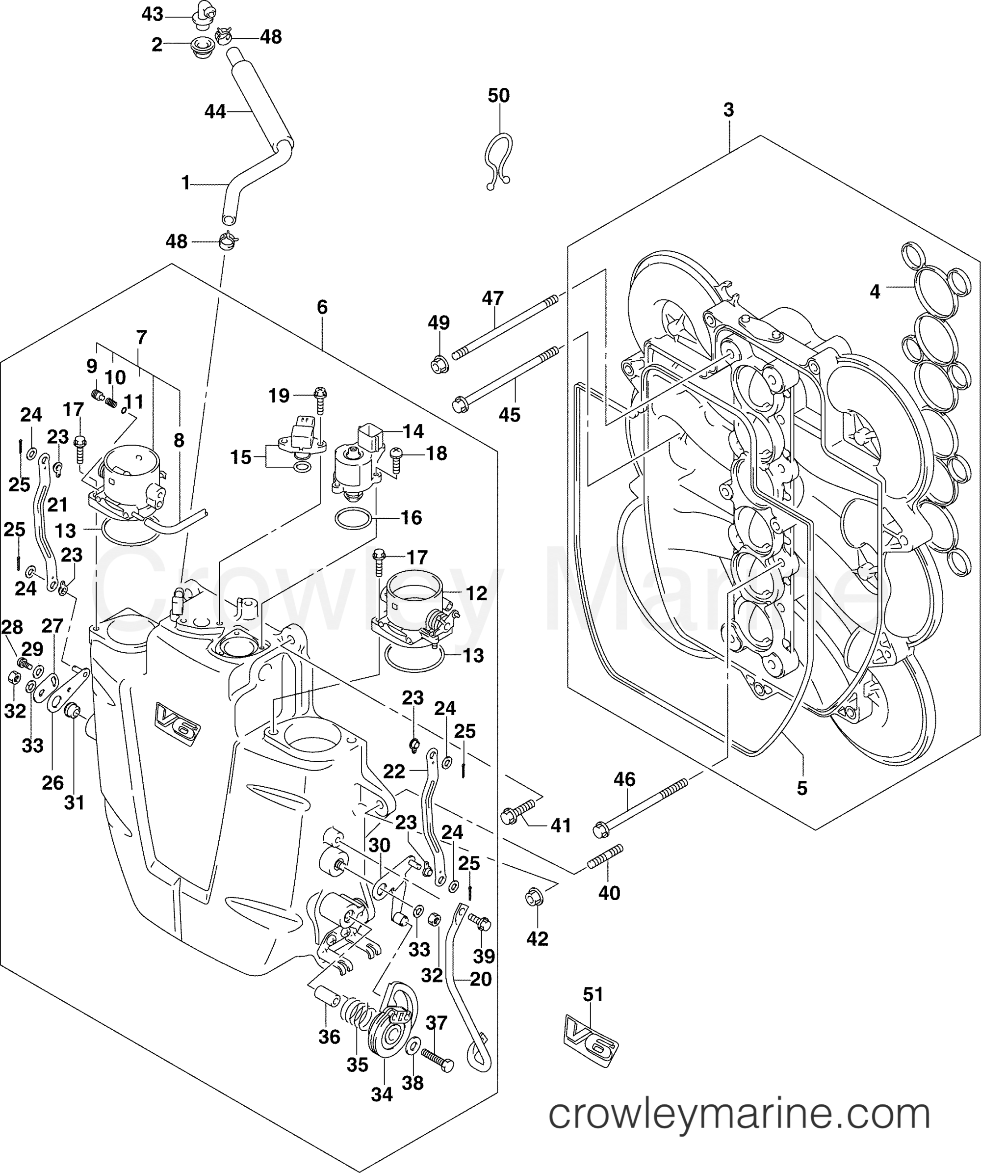 hight resolution of throttle body 200hp 2004 johnson outboards 200 j200px4srs 43 throttle body diagram
