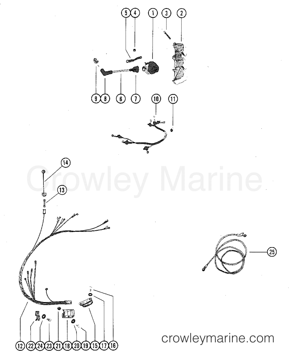 medium resolution of 1980 mercury outboard 115 elpt 1115620 wiring harness and ignition coil section