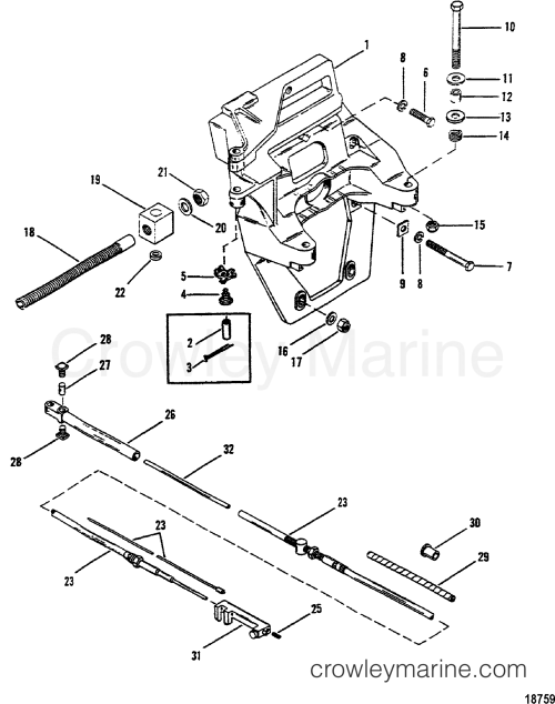 small resolution of 1983 mercruiser mc1 00019003 transom plate and shift cable section
