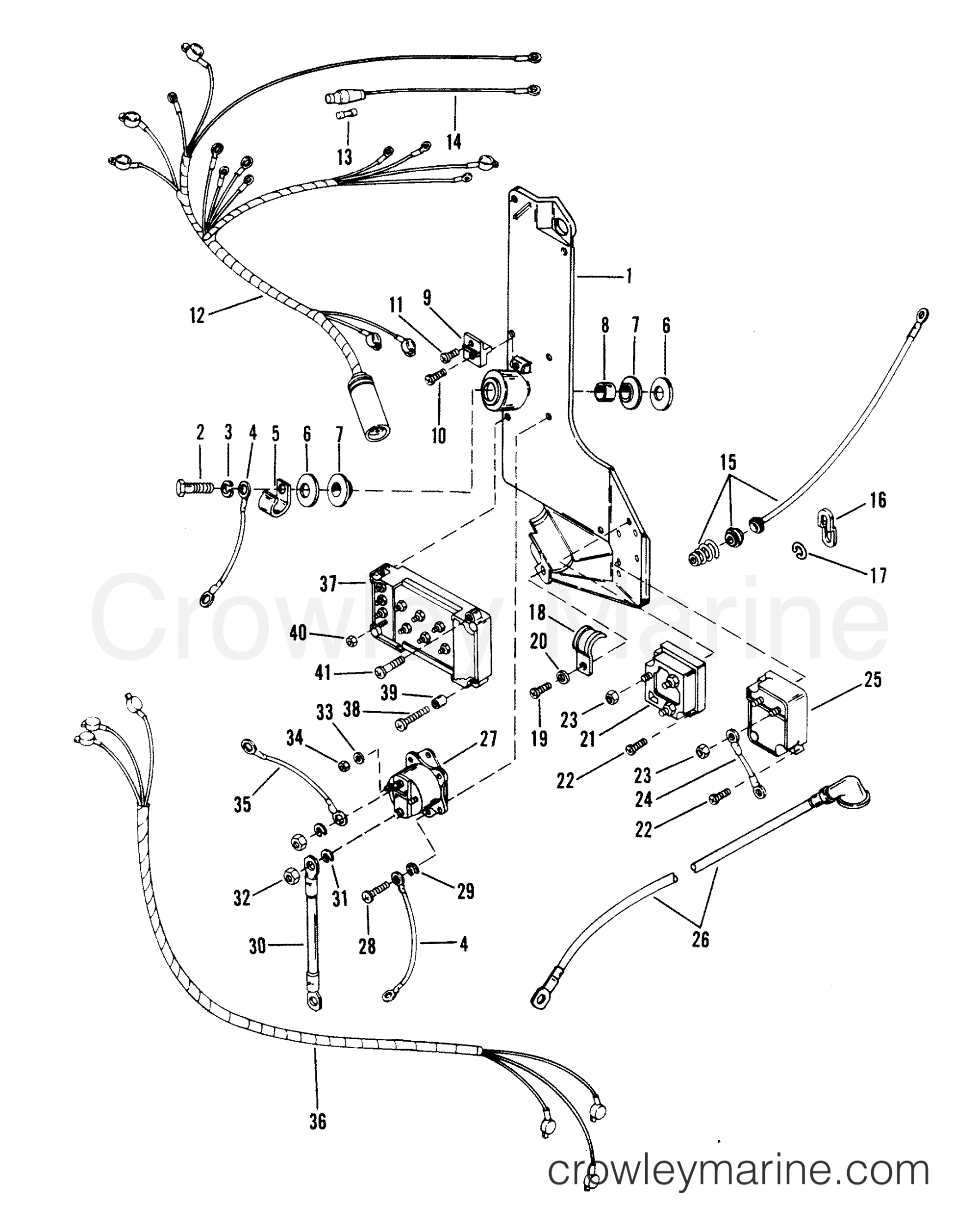 hight resolution of wiring harness starter solenoid and rectifier serial rangeserial range mercury race outboard merc 3 4
