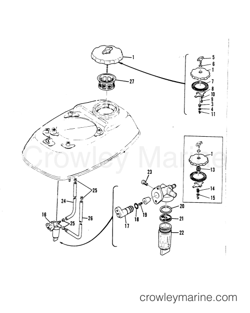 small resolution of 1987 mariner outboard 3 5 m 7003207 fuel tank cap and fuel filter