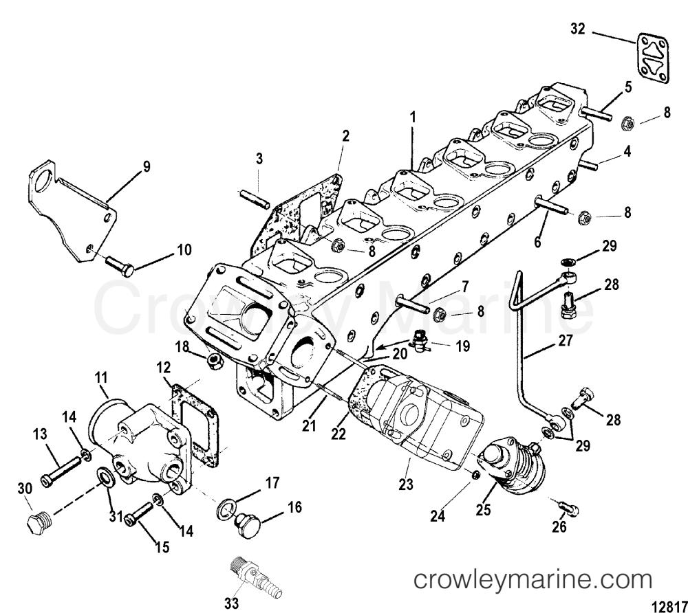 medium resolution of 1998 mercruiser 4 2l qsd d tronic 40420001d exhaust manifold section