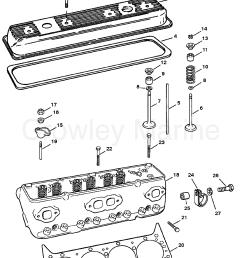 cylinder head and rocker cover 1994 mercury inboard engine 5 7l tbi head diagram [ 1890 x 2498 Pixel ]