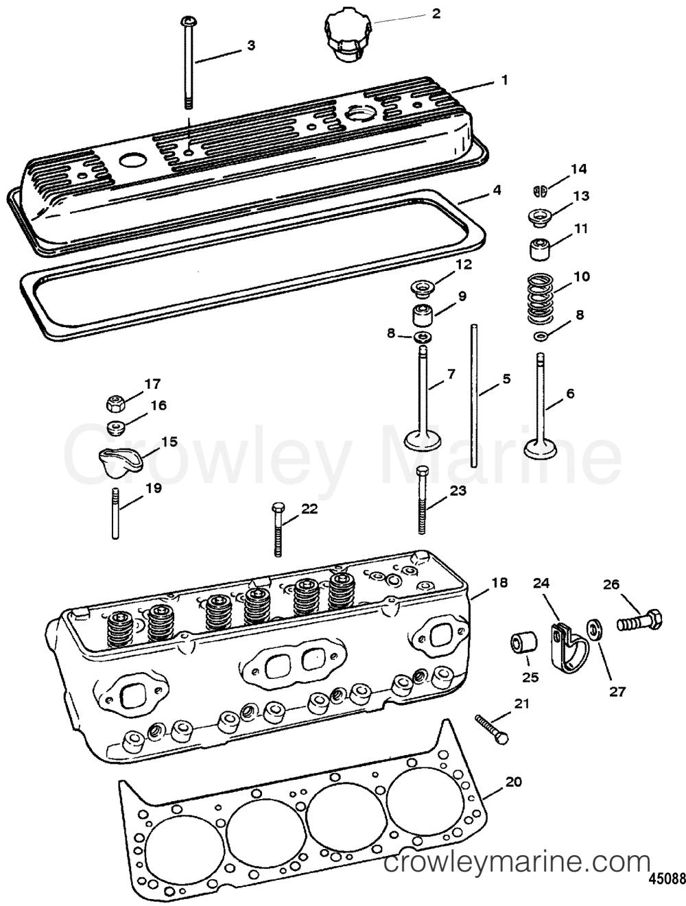 medium resolution of cylinder head and rocker cover 1994 mercury inboard engine 5 7l tbi head diagram