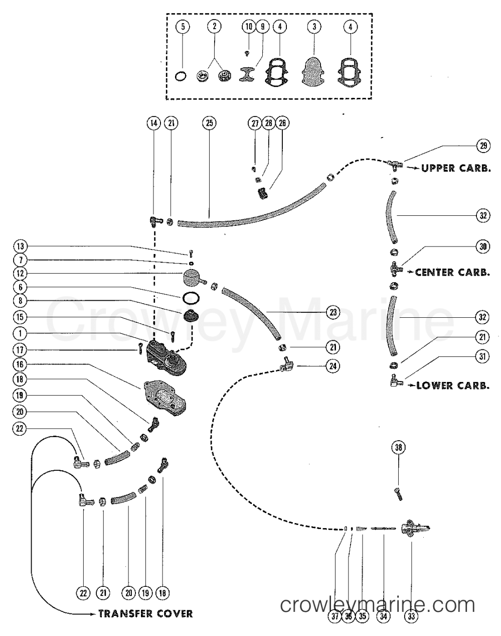 medium resolution of fuel pump and fuel line assembly 1978 mercury outboard 115 elpt diagram of 1978 mercury marine mercury outboard 1115628 carburetor