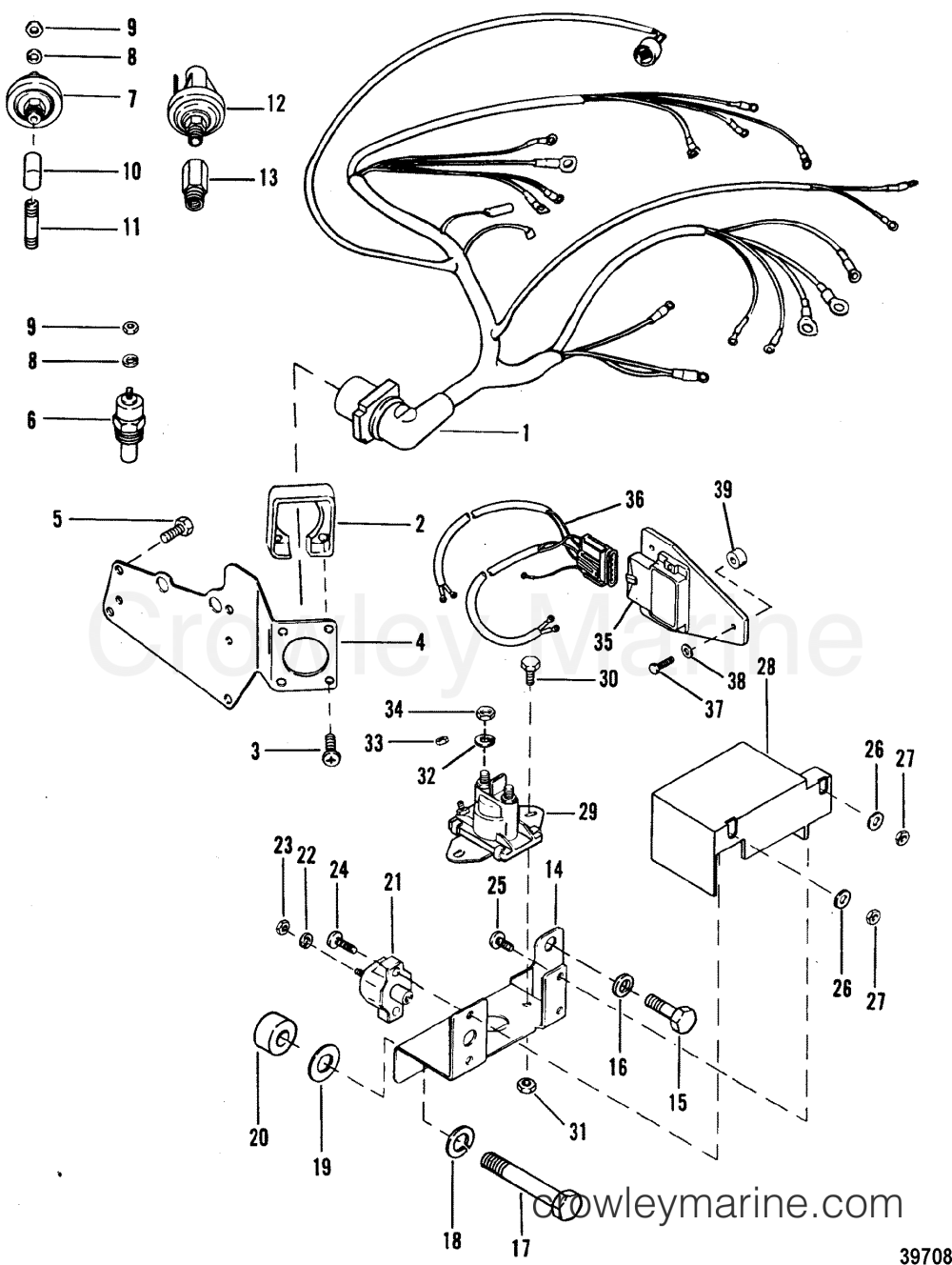 medium resolution of 1992 mercruiser 4 3l alpha i 443b0002s wiring harness and electrical components