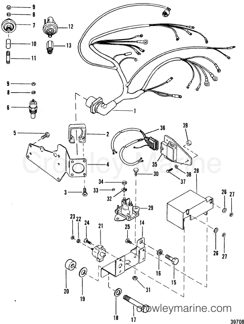 small resolution of 1992 mercruiser 4 3l alpha i 443b0002s wiring harness and electrical components