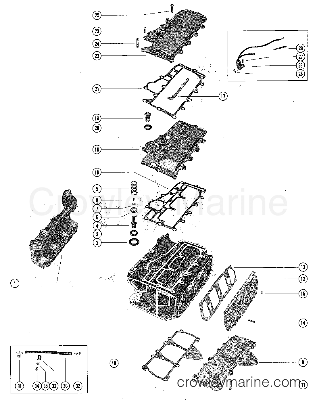 hight resolution of 1976 mercury outboard 65 1650506 exhaust and manifold covers section