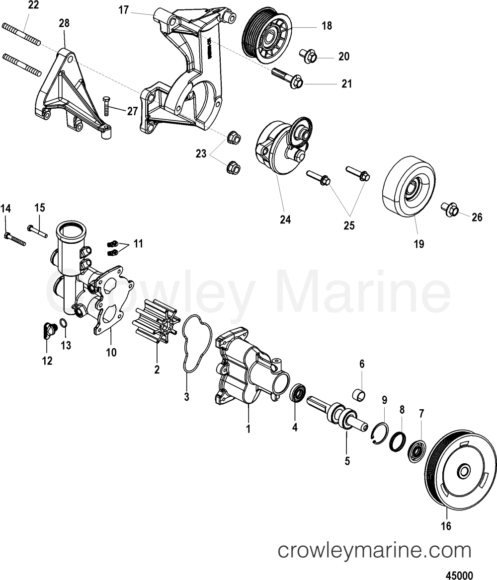 medium resolution of seawater pump serial range mercruiser 496 h o bravo 1g400000 up mercruiser sea water pump diagram