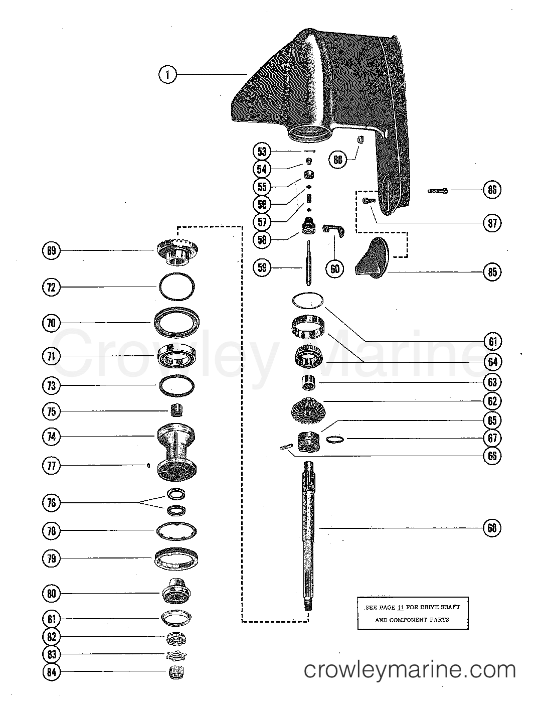 hight resolution of 1977 mercruiser 228 2228107 gear housing assembly section