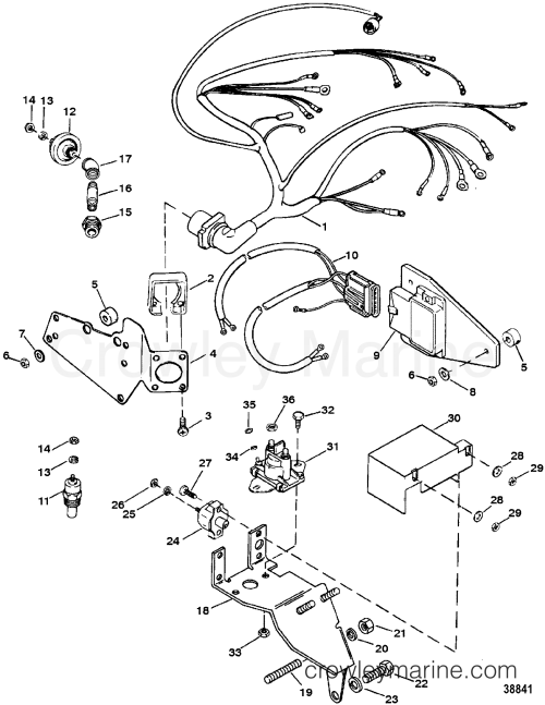 small resolution of wiring harness electrical mounted on exhaust elbow tb iv 1991 wiring diagram mercruiser 454