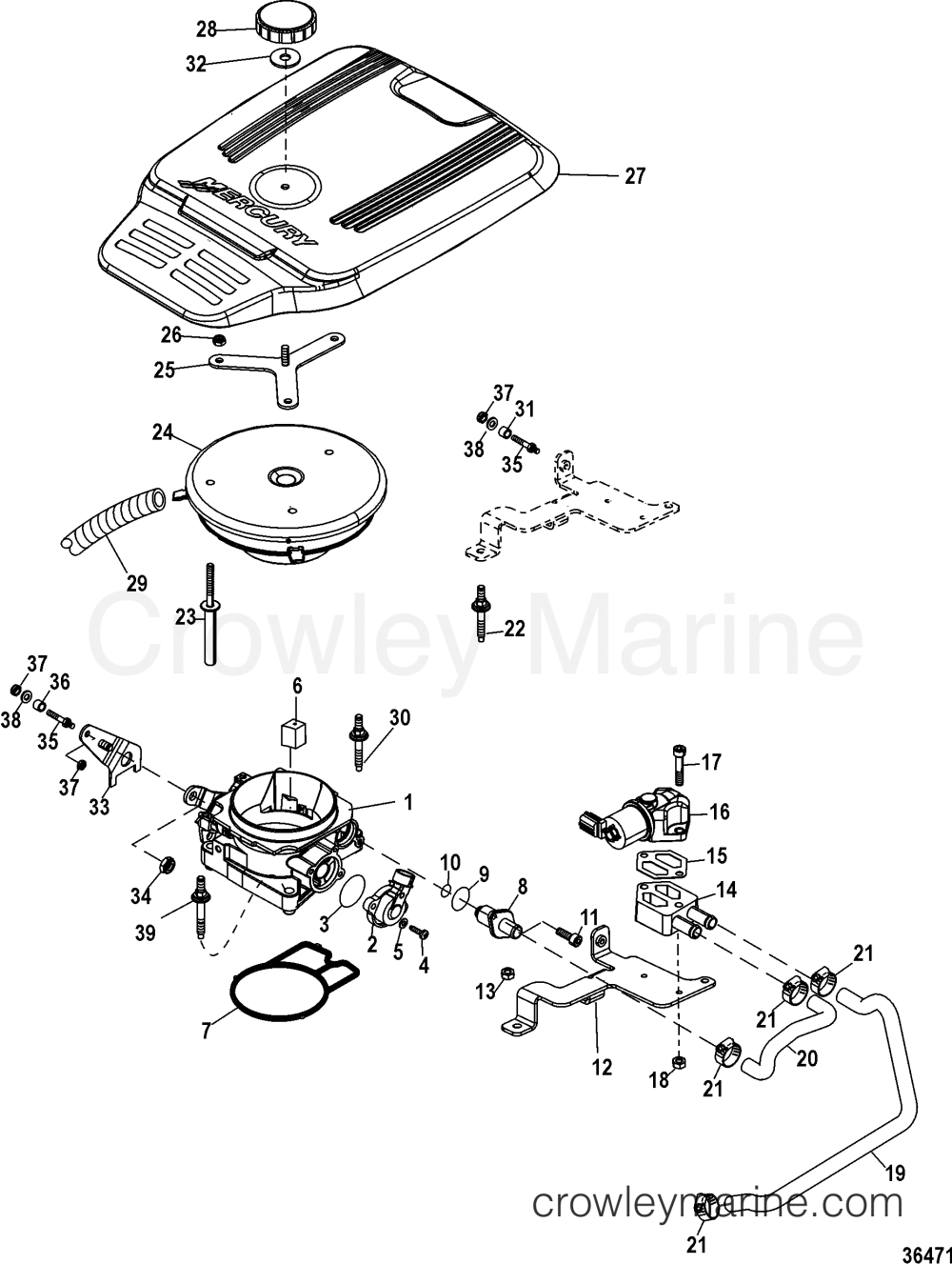 medium resolution of throttle body 1998 mercruiser 4 3l alpha mpi 424106lrs crowley 4 3 throttle body diagram
