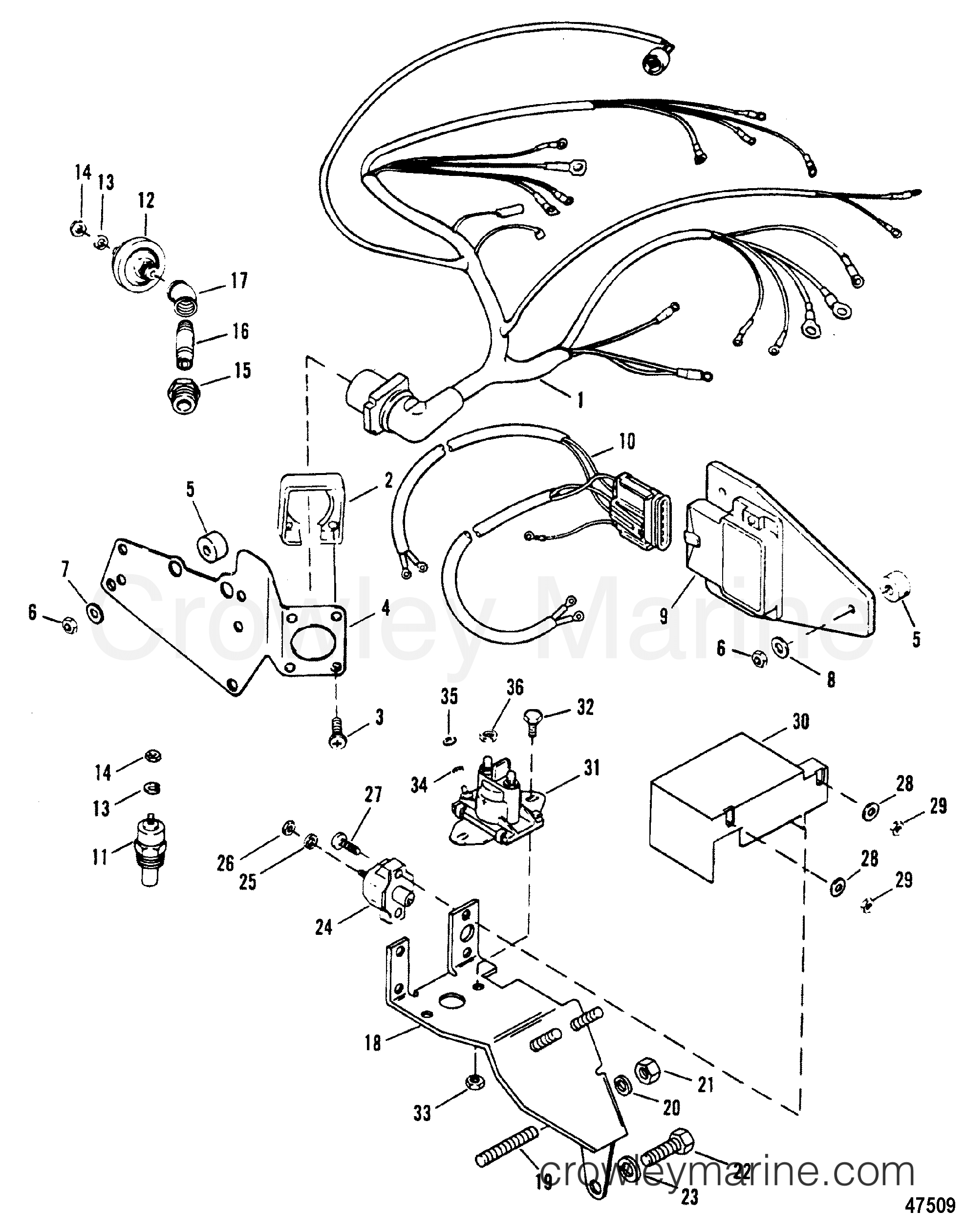 WIRING HARNESS AND ELECTRICAL COMPONENTS(EXHAUST BELOW