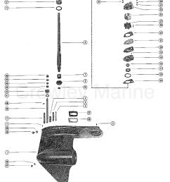 1976 mercury outboard 115 elpt 1115626 gear housing assembly driveshaft section [ 1701 x 2322 Pixel ]