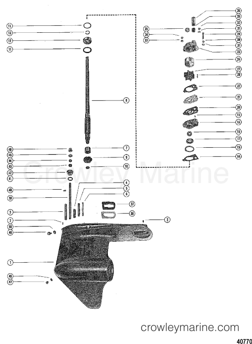 small resolution of 1976 mercury outboard 115 elpt 1115626 gear housing assembly driveshaft section
