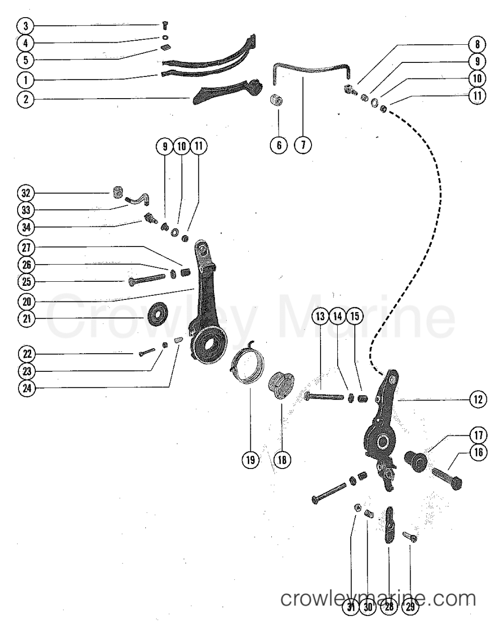 medium resolution of 1976 mercury outboard 65 1650506 throttle control linkage and spark advance section