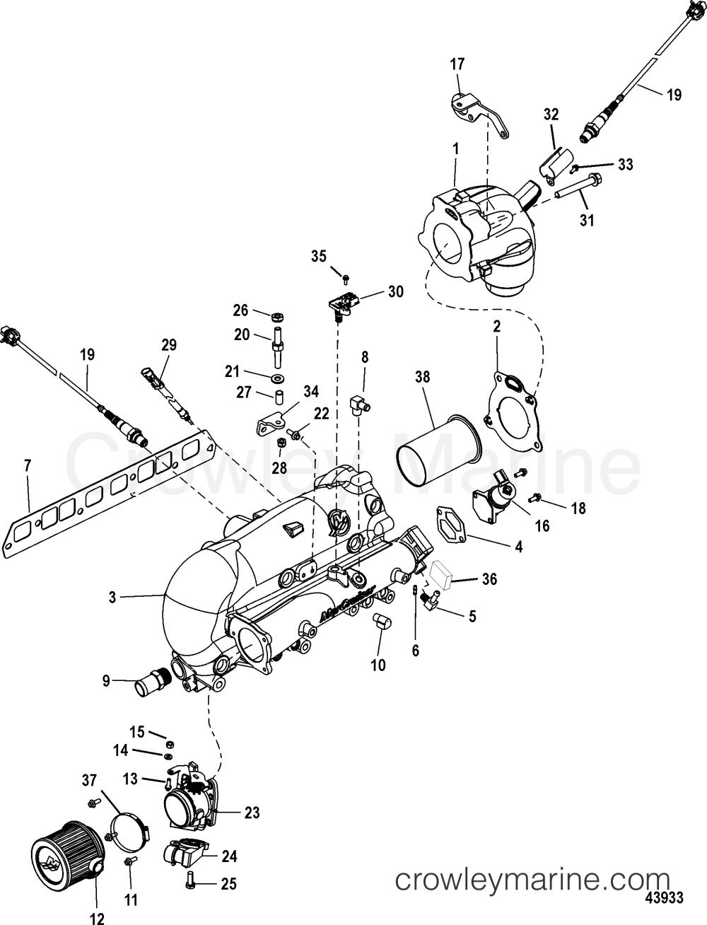medium resolution of 1998 mercruiser 3 0l alpha mpi 41510p1uu intake exhaust manifold and