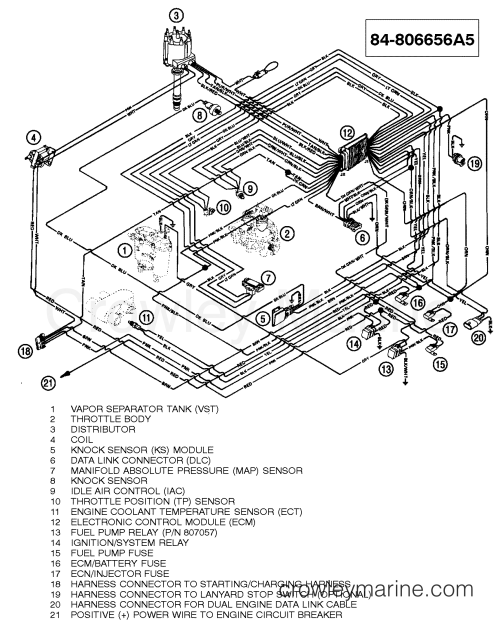 small resolution of 1996 mercruiser 5 7l tbi alpha 457b101js wiring harness efi