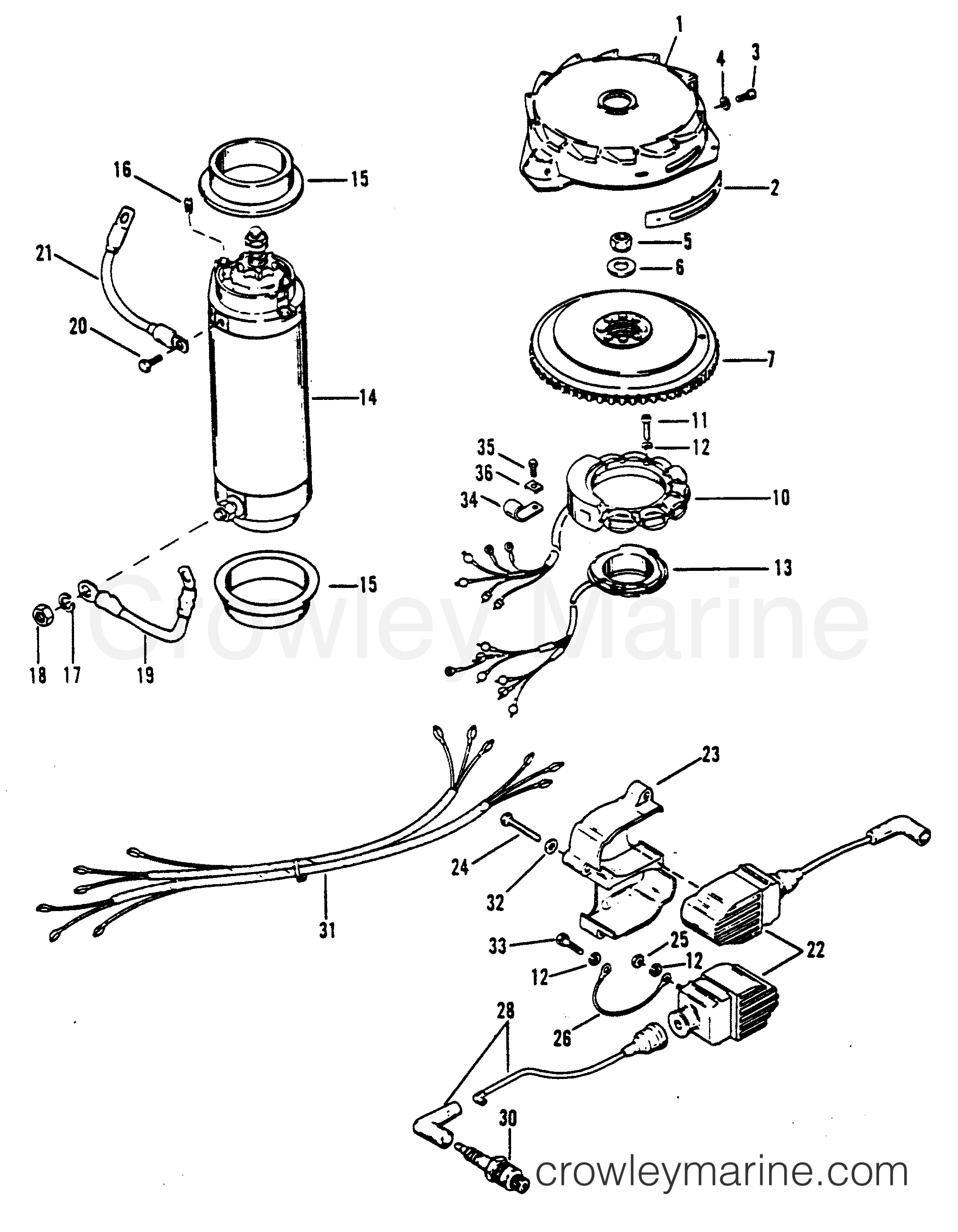 Flywheel Starter Motor And Ignition Coils
