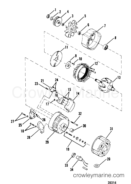 small resolution of alternator delco remy 1105064 1988 mercruiser 3 0l delco remy alternator wiring schematic delco remy 22si alternator wiring diagram