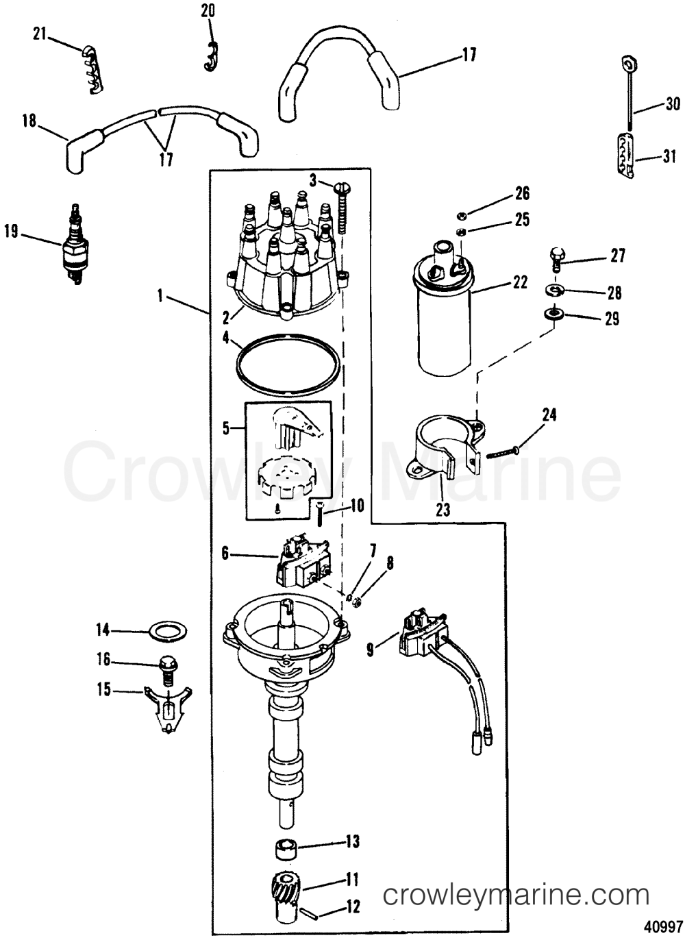 medium resolution of 1988 mercury inboard engine 5 7l ski 3570111as distributor ignition components