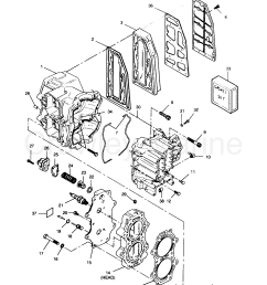 1991 force outboard 50 h0507a91z 0 cylinder block head and exhaust [ 2160 x 2634 Pixel ]