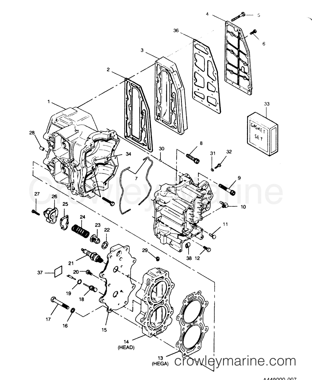 medium resolution of 1991 force outboard 50 h0507a91z 0 cylinder block head and exhaust