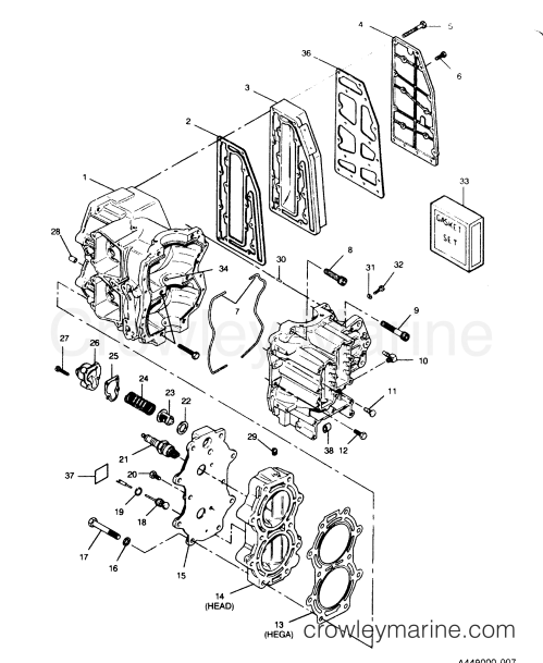 small resolution of 1991 force outboard 50 h0507a91z 0 cylinder block head and exhaust