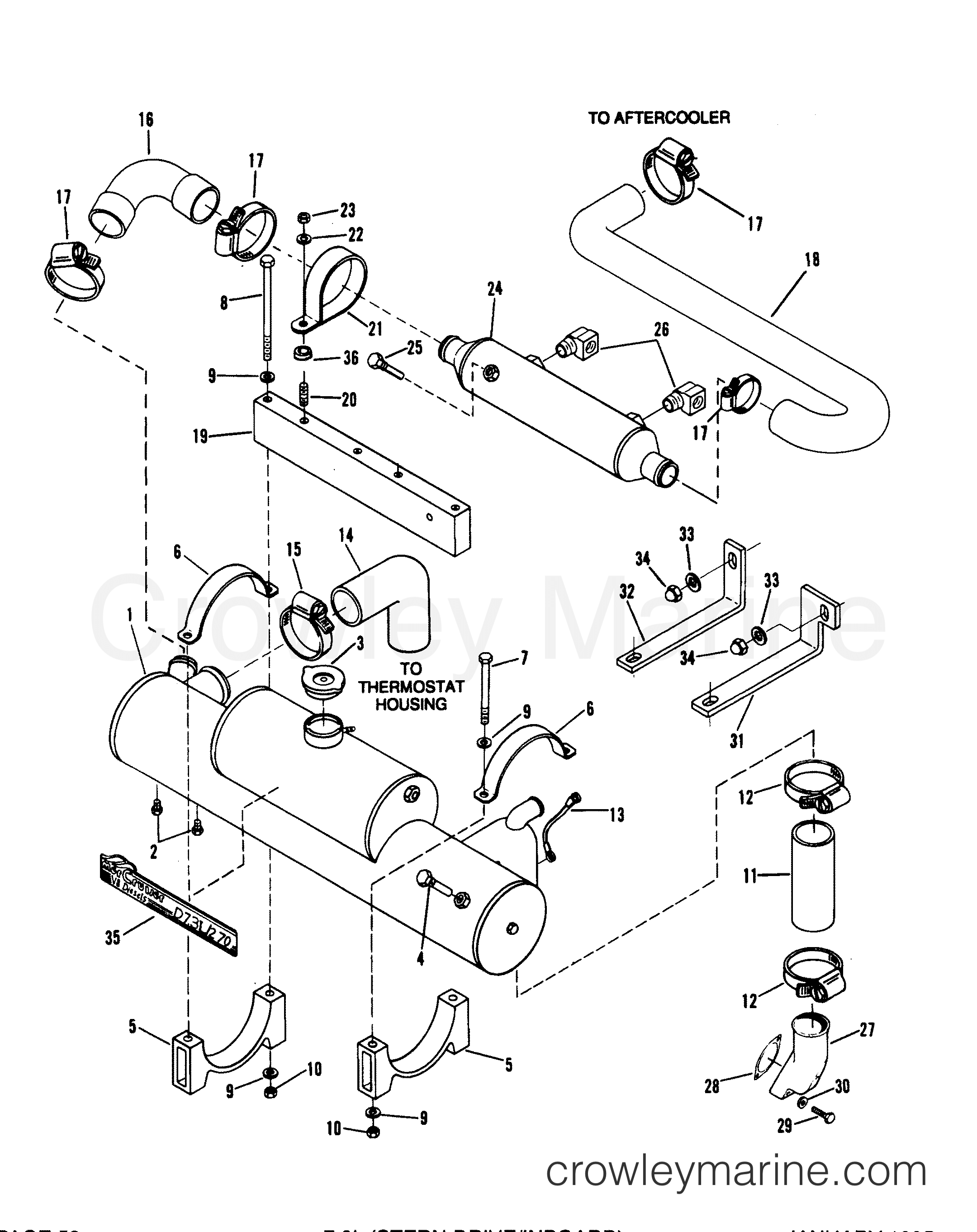 Heat Exchanger And Oil Cooler Stern Drive