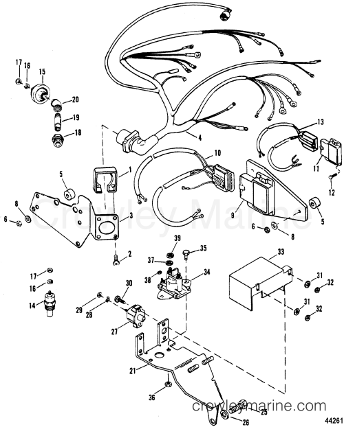 small resolution of 1992 mercury inboard engine 7 4l 37412212s wiring harness electrical components thunderbolt