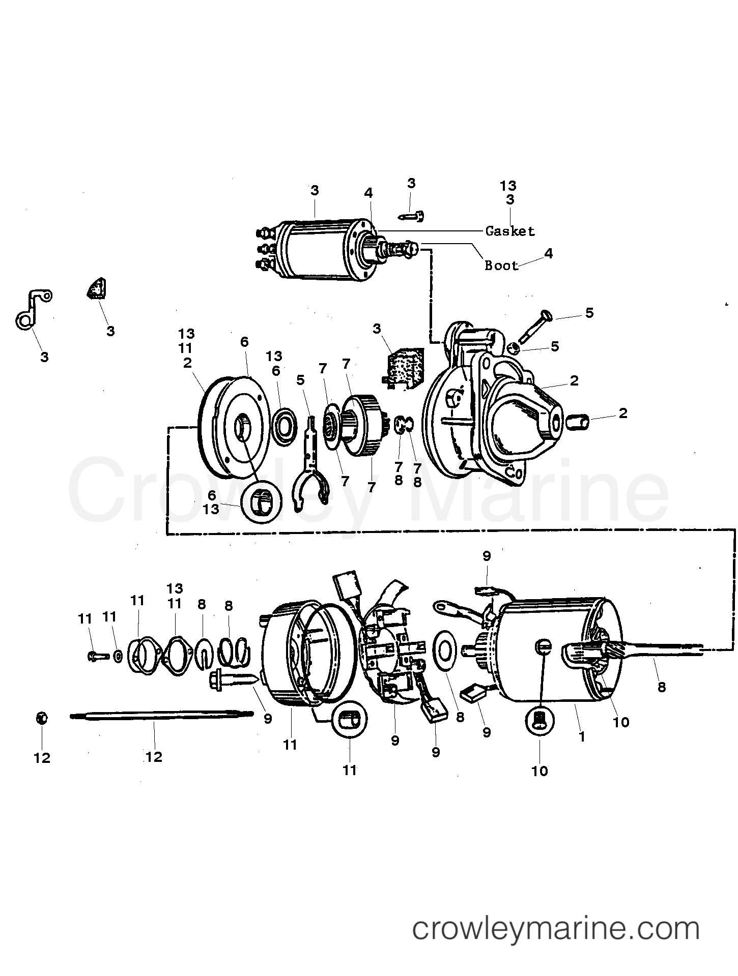 hight resolution of 1992 mercruiser race sterndrive 800sc 4800260eh starter assembly 50 808011a1 section