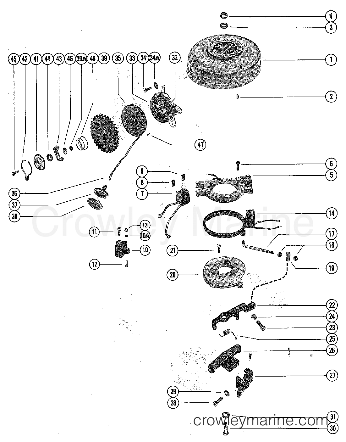 Flywheel Stator And Manual Starter