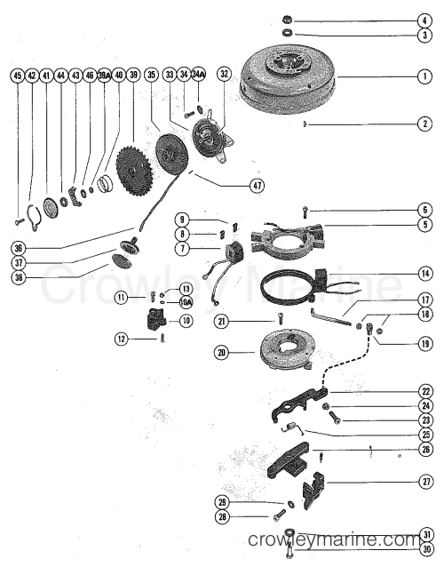 small resolution of 1976 mercury outboard 4 m 1040206 flywheel stator and manual starter