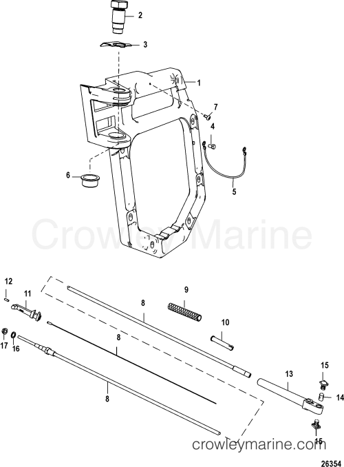 small resolution of serial range mercruiser vazer drive 0w995000 up transom plate and shift cable section
