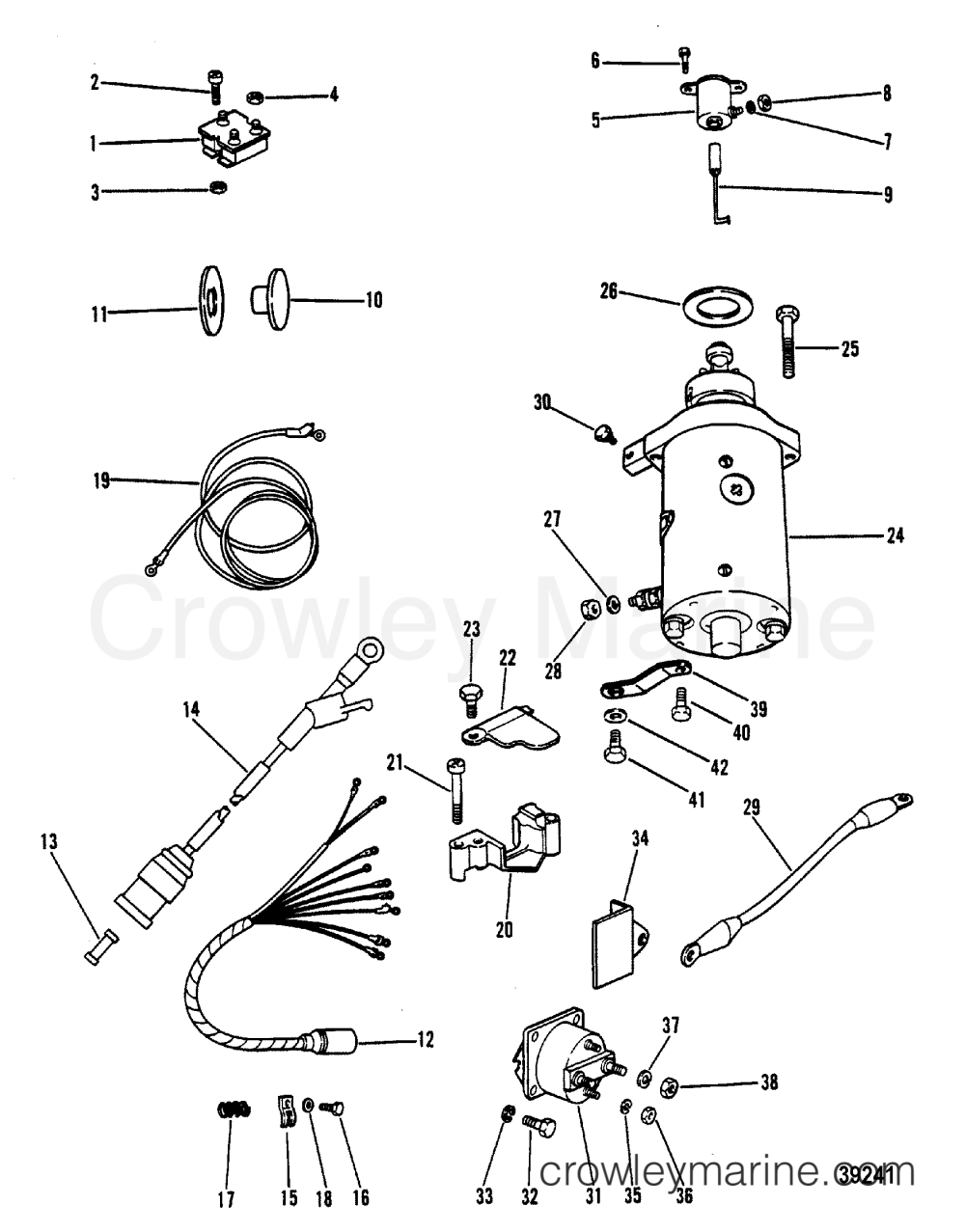 medium resolution of 1980 mercury outboard 40 eh 1040530 starter motor rectifier and wiring