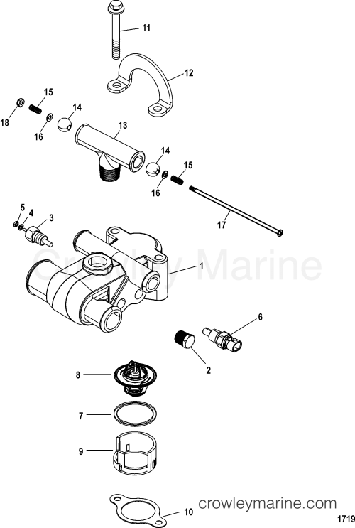 small resolution of thermostat and housing 1998 mercruiser 5 0l alpha 4m11025tt mercruiser 5 0 engine diagram thermostat