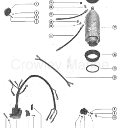 1976 mercury outboard 65 1650506 starter motor starter solenoid and rectifier assembly section [ 1112 x 1393 Pixel ]