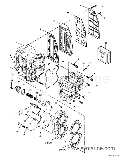 small resolution of 1990 force outboard 50 h0507a90a a cylinder block head and exhaust