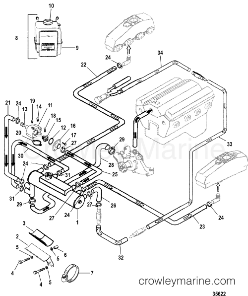 small resolution of 1996 mercury inboard engine 7 4l efi 374n499js closed cooling system section