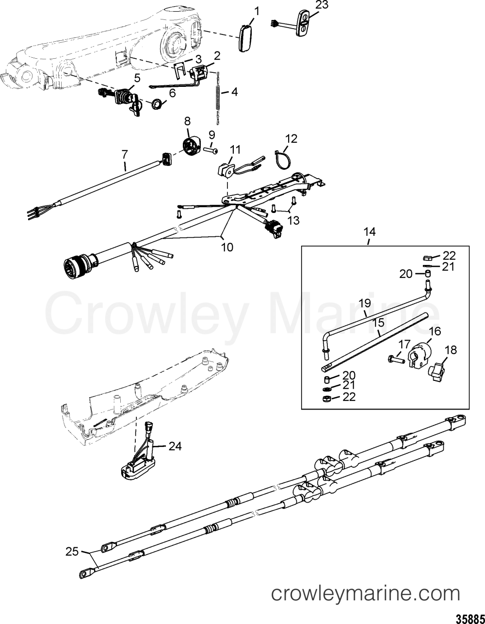medium resolution of various years rigging parts steering systems and components 1994 1994 up tiller handle