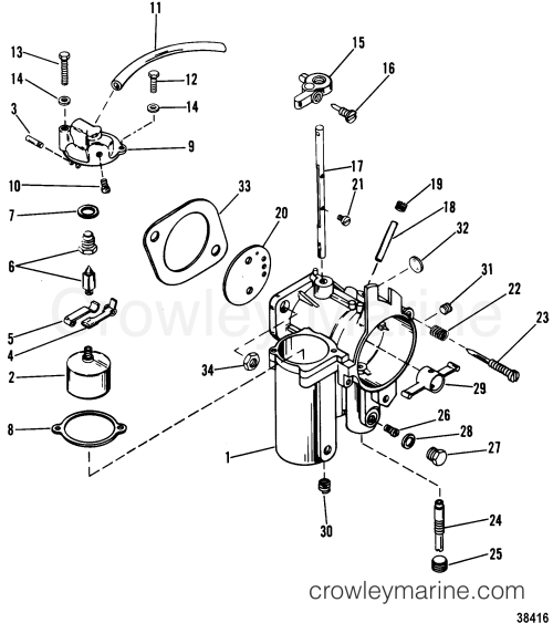 small resolution of 1980 mariner outboard 115 elpt 7115620 carburetor section