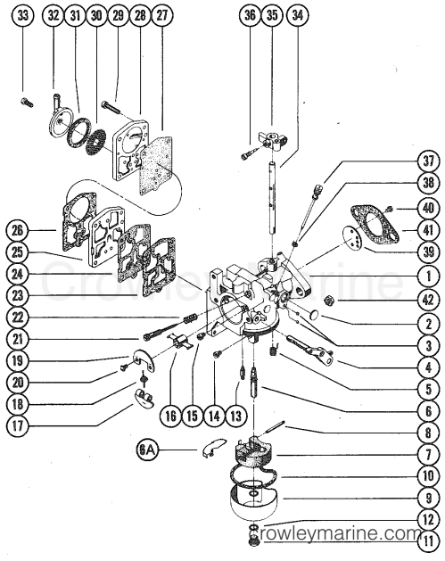 small resolution of 1976 mercury outboard 50 1500206 carburetor assembly section