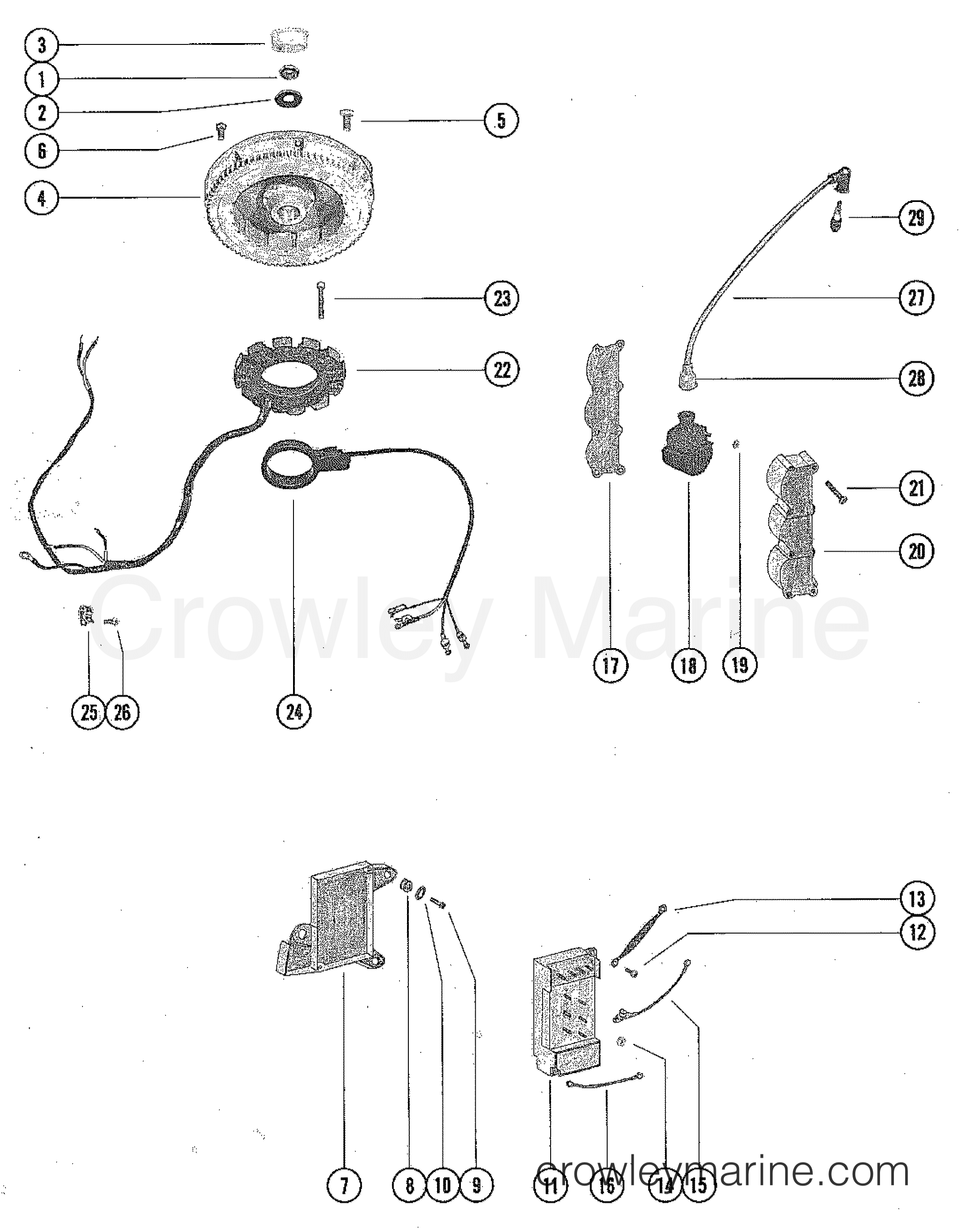 Flywheel Switch Box Ignition Coil And Stator Assembly