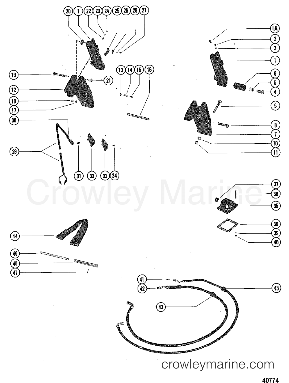 medium resolution of 1976 mercury outboard 115 elpt 1115626 trim cylinders and hydraulic hoses section