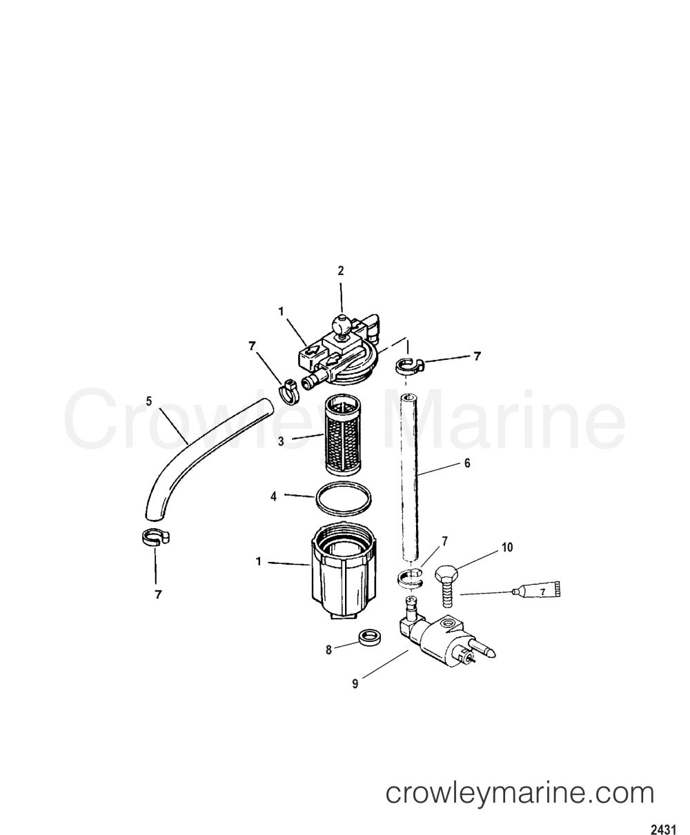 medium resolution of 1987 mariner outboard 8 ml alt 7008237 fuel filter assembly section