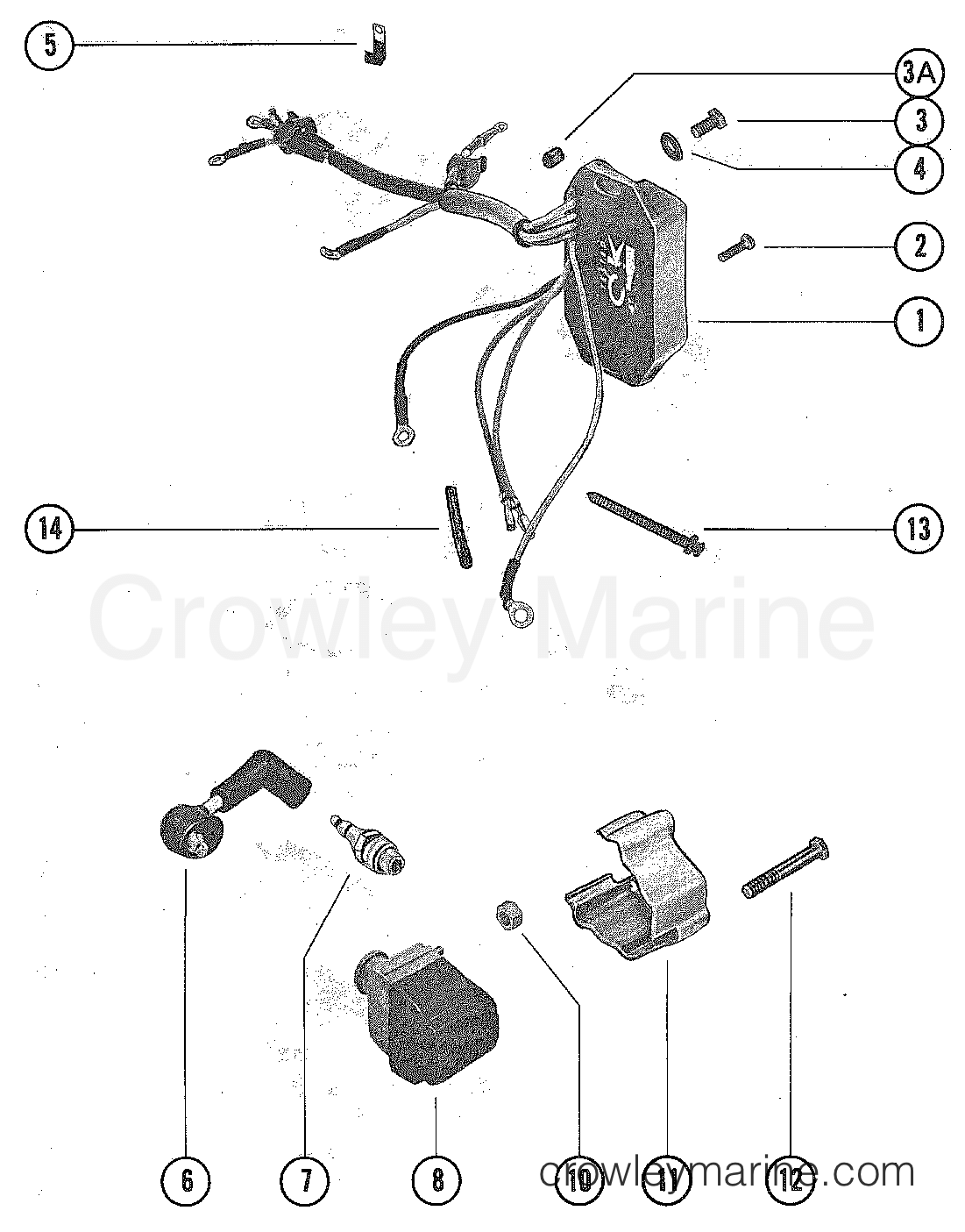 mercury outboard 1040206 switch box and ignition coil diagram and