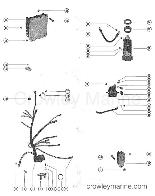 small resolution of starter motor starter solenoid rectifier u0026 wiring harness serialserial range mercury outboard 1150