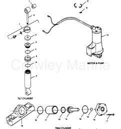 1989 force outboard 125 h1258x89b parts breakdown tilt cylinder trim cylinder motor [ 2160 x 2611 Pixel ]