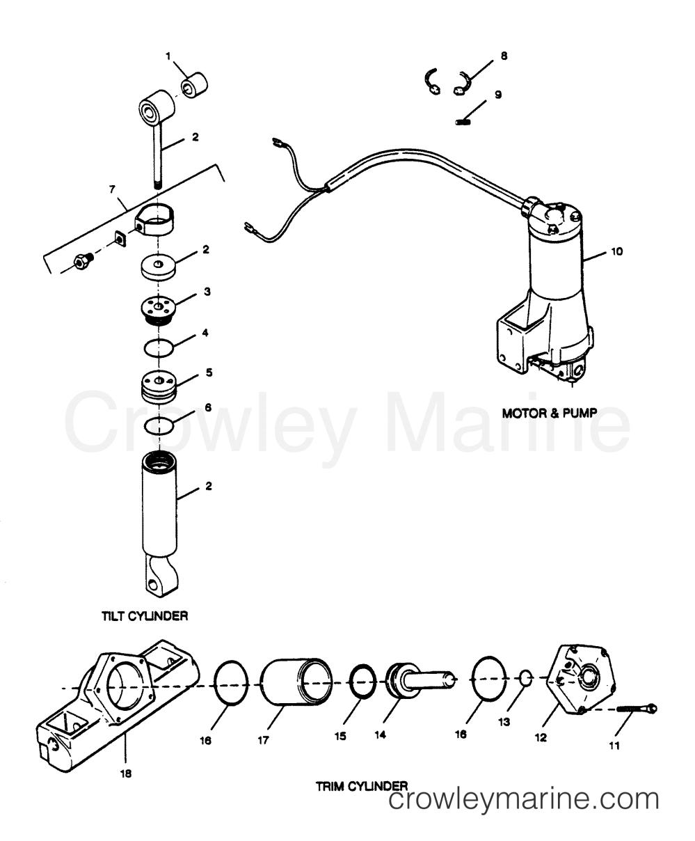 medium resolution of 1989 force outboard 125 h1258x89b parts breakdown tilt cylinder trim cylinder motor